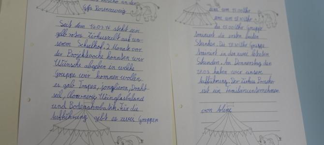 Kindertexte zum Zirkusprojekt