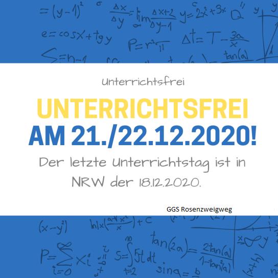 Unterrichtsfreie Tage am 21. und 22. Dezember 2020